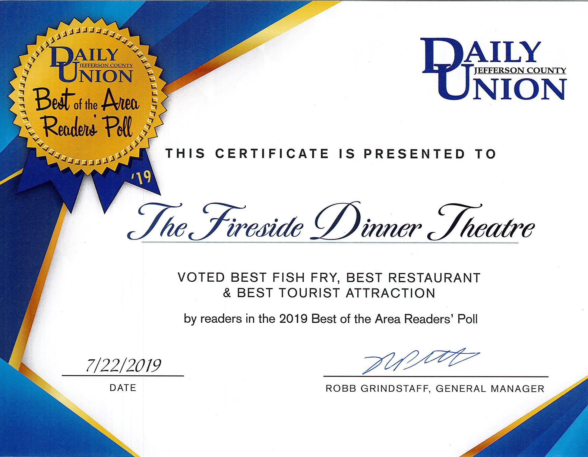 Best of Area Certificate